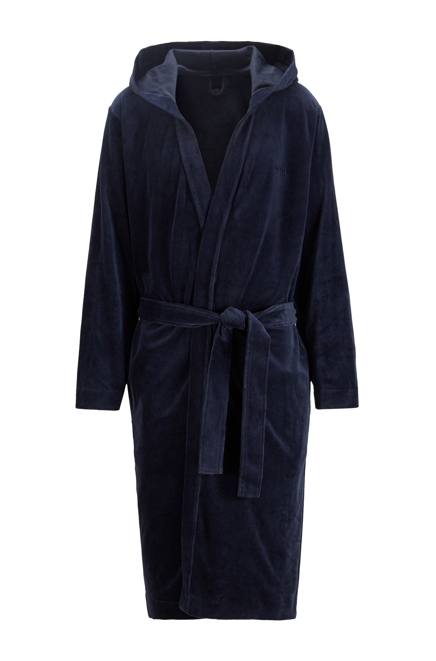 Hooded dressing gown in velour with logo embroidery, Dark Blue