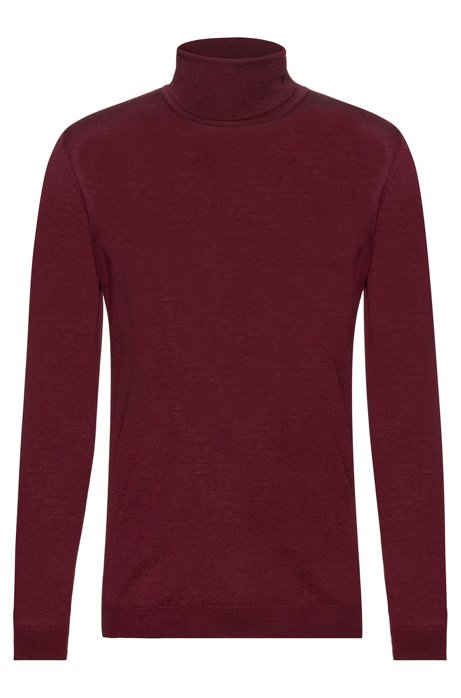 Slim-fit turtleneck sweater in merino wool, Dark Red