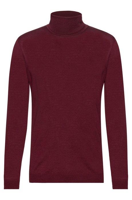 Maglione slim fit a collo alto in lana merino, Rosso scuro
