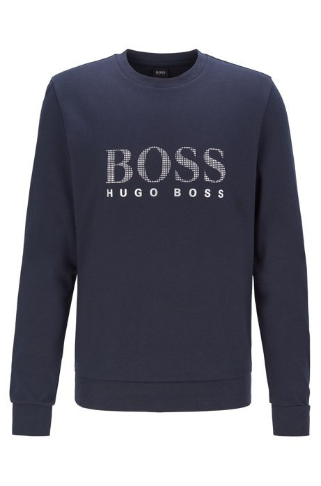 Cotton-blend loungewear sweatshirt with metallic logo, Dark Blue