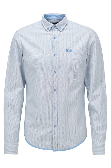 Regular-fit shirt in micro-patterned dobby cotton, Blue