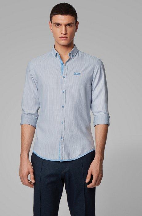 Regular-fit overhemd van dobbykatoen met microdessin, Blauw