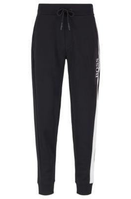 Loungewear-Hose aus Piqué mit Kontrast-Einsatz, Schwarz