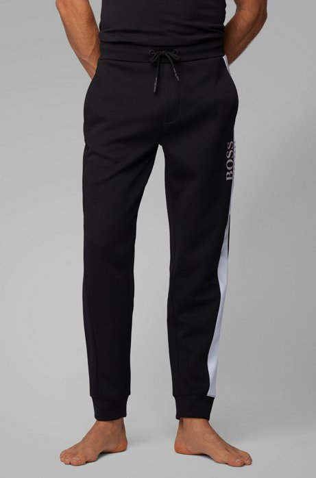 Loungewear trousers in piqué fabric with contrast panel, Black