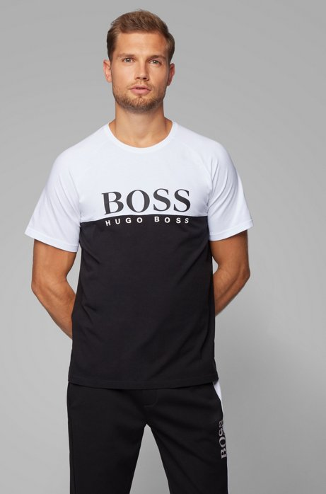 Colour-block loungewear T-shirt with large logo print, Black