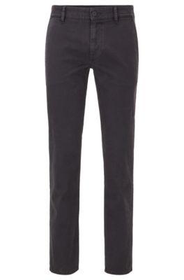 Slim-fit broek van zachte stretchkatoen, Zwart