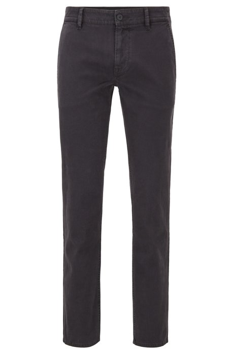 Slim-fit trousers in peached stretch cotton, Black