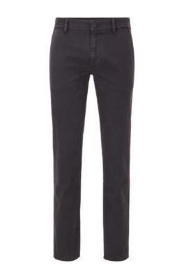 Pantalones slim fit de algodón elástico cepillado, Negro