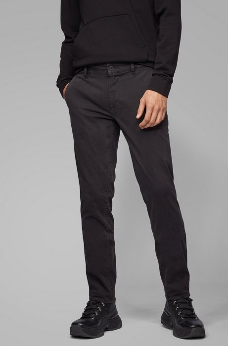 Pantalon Slim Fit en coton stretch peau de pêche, Noir