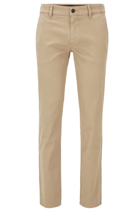 Slim-fit trousers in peached stretch cotton, Beige