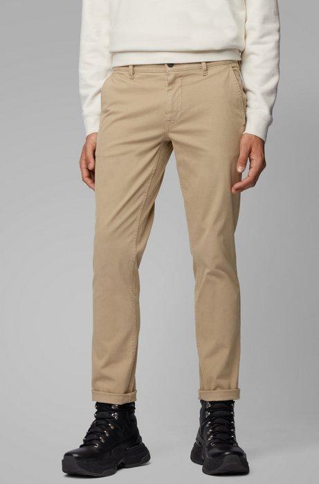 Slim-fit broek van zachte stretchkatoen, Beige