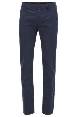 Pantalones slim fit de algodón elástico cepillado, Azul oscuro