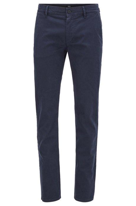 Pantalon Slim Fit en coton stretch peau de pêche, Bleu foncé