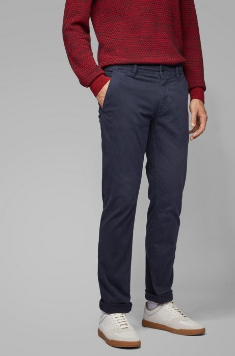 Slim-fit trousers in peached stretch cotton, Dark Blue