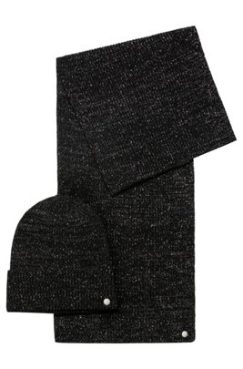 Wool-blend scarf and hat gift set with shimmer, Black