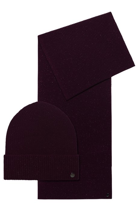 Wool-blend scarf and hat gift set with shimmer, Purple