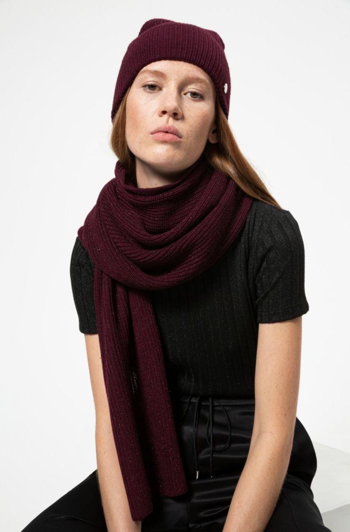Set regalo con sciarpa e cappello in misto lana lucente