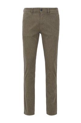 Pantalones slim fit en sarga de algodón elástico con teñido especial, Gris oscuro