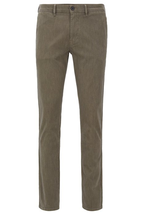 Slim-fit trousers in overdyed stretch-cotton twill, Dark Grey