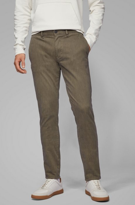 Pantalon Slim Fit en twill de coton stretch surteint, Gris sombre