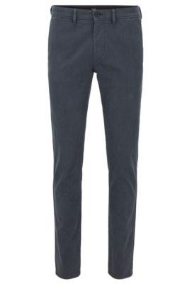 Pantalon Slim Fit en twill de coton stretch surteint, Bleu foncé