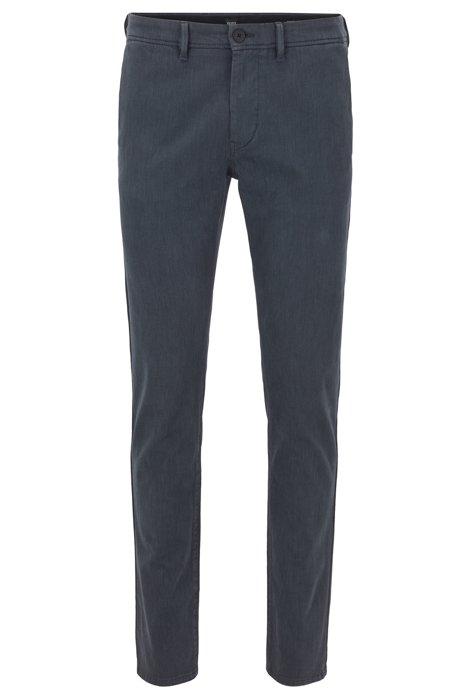 Slim-fit trousers in overdyed stretch-cotton twill, Dark Blue