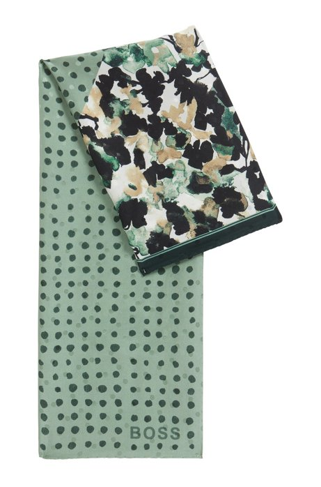 Silk-jacquard scarf with mixed collection prints, Green