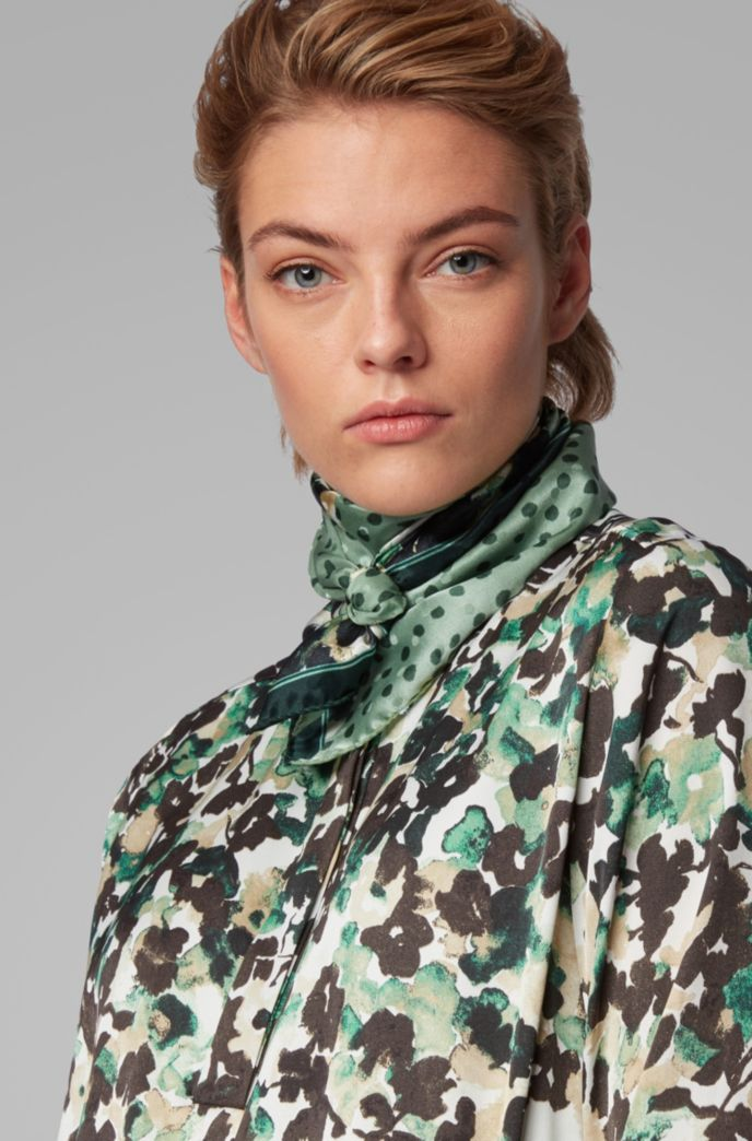 Silk-jacquard scarf with mixed collection prints