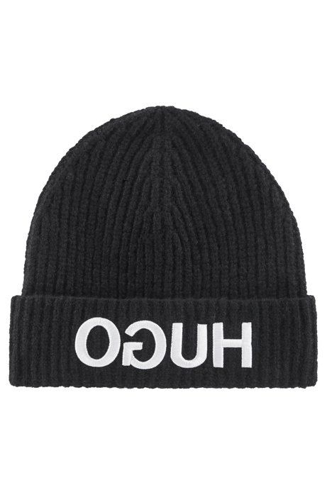 Wool-blend beanie hat with reversed-logo embroidery, Black