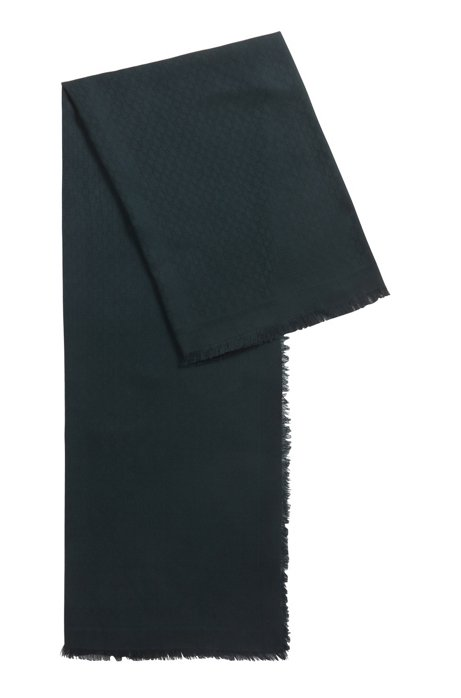 Monogram-jacquard scarf in modal with wool, Dark Green
