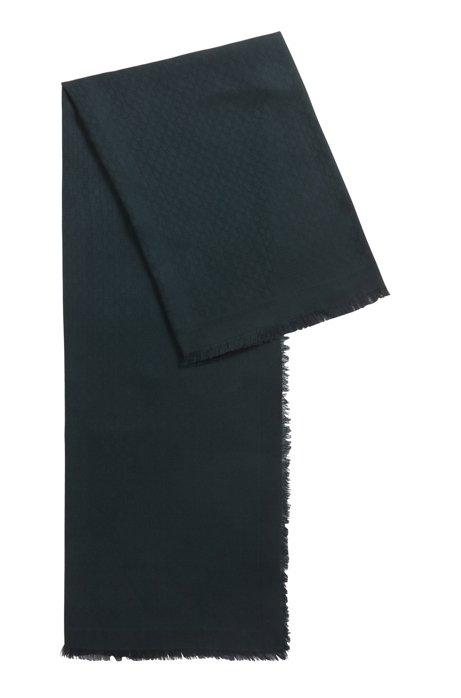 Sciarpa con monogramma jacquard in modal e lana, Verde scuro