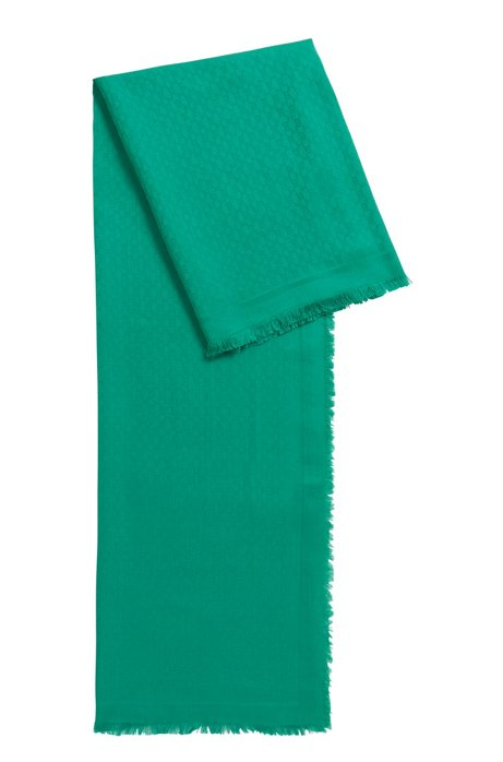 Monogram-jacquard scarf in modal with wool, Green