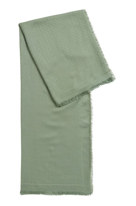 Monogram-jacquard scarf in modal with wool, Light Green