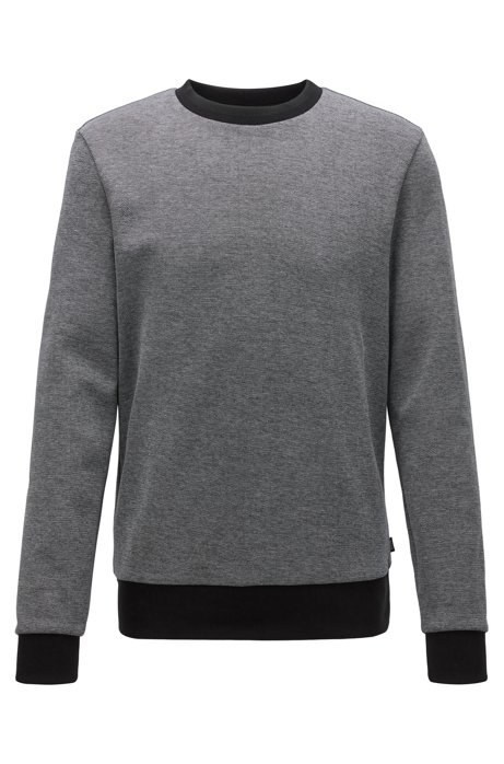 Striped-collar sweatshirt in a cotton-blend jacquard, Grey