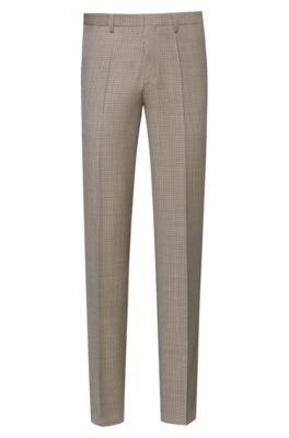 Pantalon Extra Slim Fit en laine vierge à motif pied-de-poule, Beige
