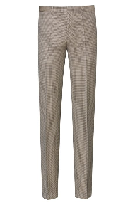 Extra-slim-fit trousers in houndstooth virgin wool, Beige