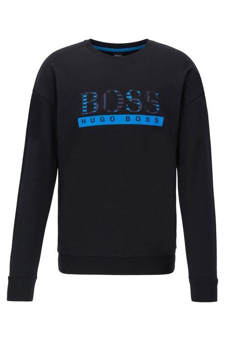 Loungewear sweatshirt in French terry with geometric-print logo, Black