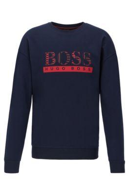 Loungewear-Sweatshirt aus French Terry mit geometrischem Logo-Print, Dunkelblau