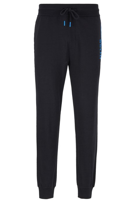 French-terry loungewear trousers with contrast details, Black