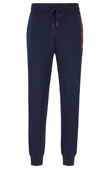 French-terry loungewear trousers with contrast details, Dark Blue