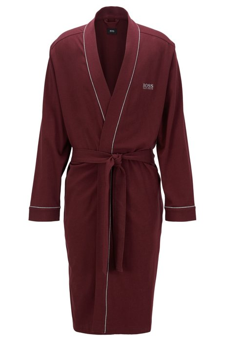 Cotton dressing gown with contrast piping, Dark Red