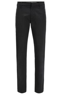 Pantalones slim fit en mezcla de algodón, Negro