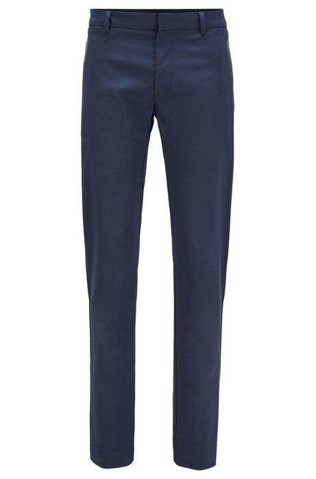 Slim-fit trousers in a cotton blend, Dark Blue