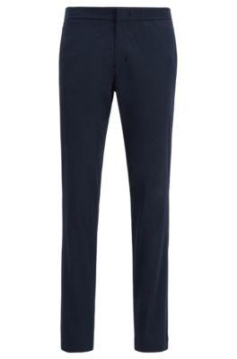 Slim-fit trousers in anti-wrinkle fabric, Dark Blue