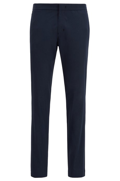 Slim-fit trousers in anti-wrinkle fabric, Dark Blue