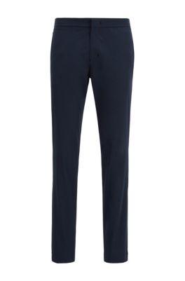 Pantalones slim fit en tejido antiarrugas, Azul oscuro