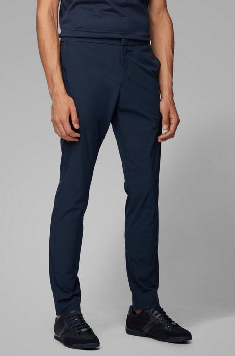 Slim-fit broek van antikreukmateriaal, Donkerblauw