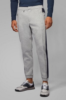 Tapered-fit jogging trousers in Italian jersey, Light Grey