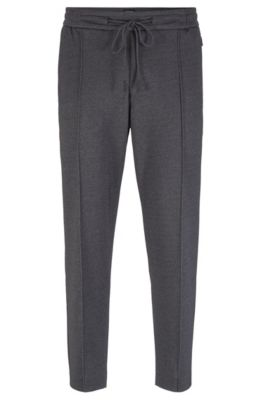 Tapered-fit trousers in printed jersey with cropped length, Grey