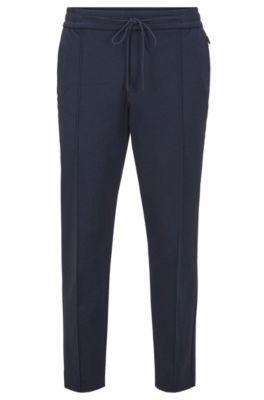 Kortere tapered-fit broek van jersey met print, Donkerblauw